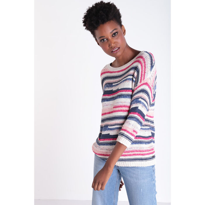 Pull manches 3/4 col rond rose fushia femme