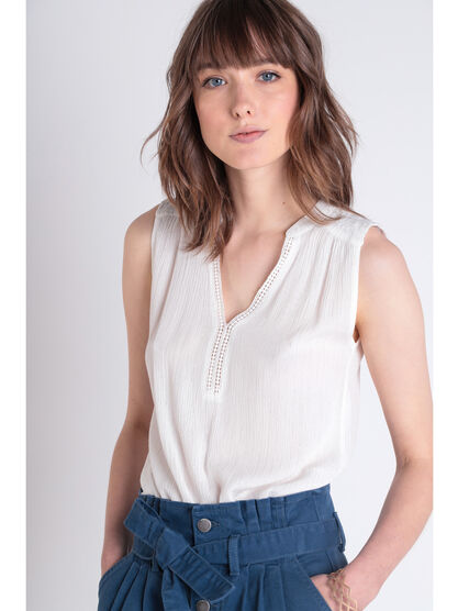 Blouse sans manches col brode blanc femme