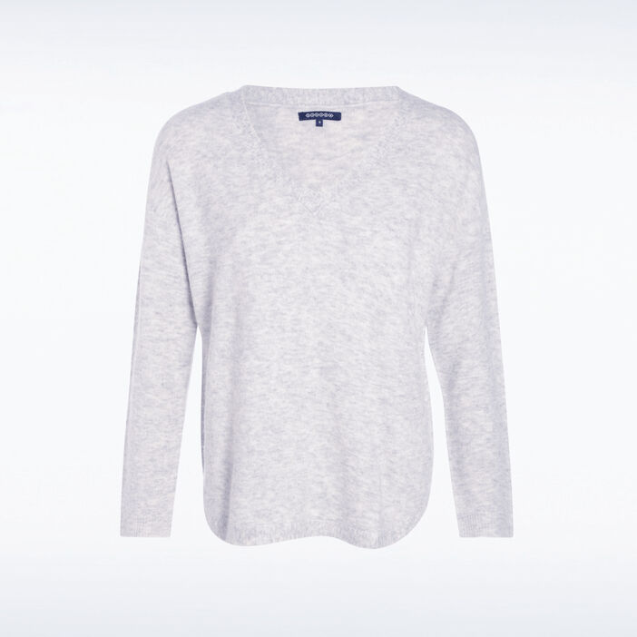 Pull manches longues maille gris femme