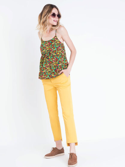 Pantalon chino devant court jaune moutarde femme