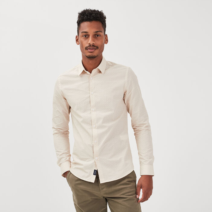 Chemise manches longues sable homme
