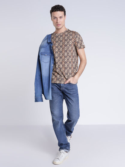 Jean straight denim stone homme