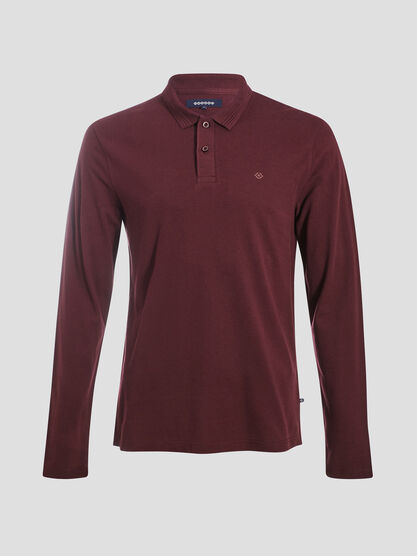 Polo manches longues violet fonce homme