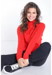 Pull manches longues col roule rouge clair femme