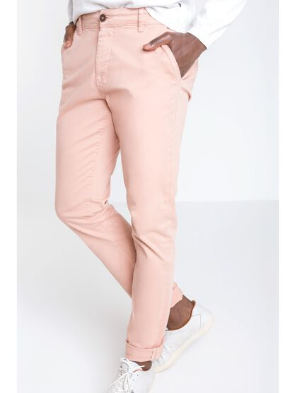 pantalon homme chino straight rose saumon