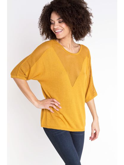 pull col rond femme maille ajouree jaune moutarde