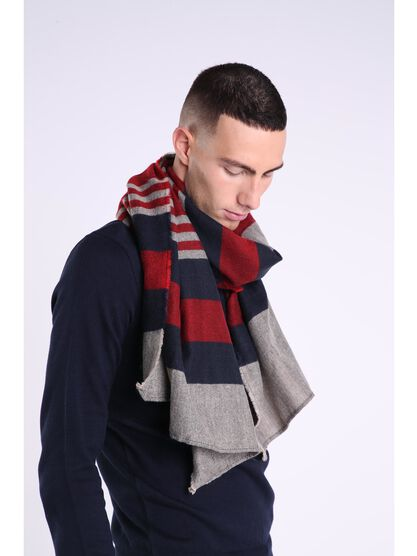 echarpe maille multicolore homme rouge