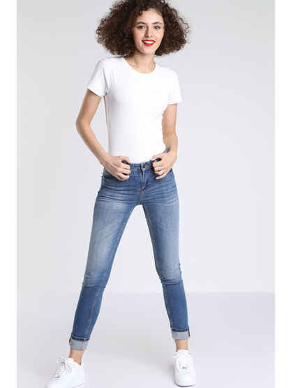 Jeans skinny a empiecements denim stone femme