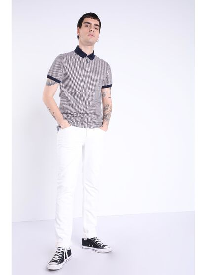 Jeans slim poche zippee blanc homme