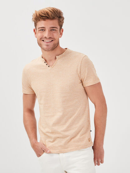 T shirt eco responsable jaune moutarde homme