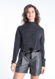Pull manches longues col roule gris fonce femme
