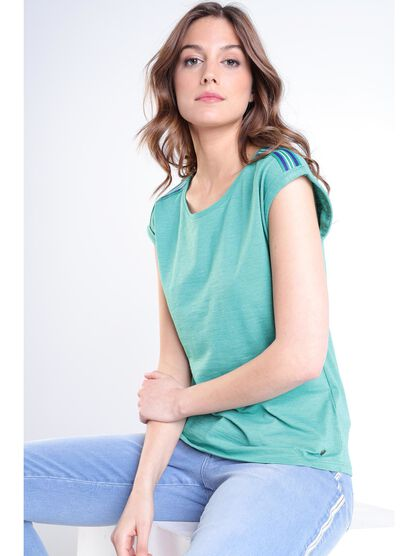 T shirt manches courtes vert turquoise femme