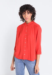 Chemise manches 34 rouge femme