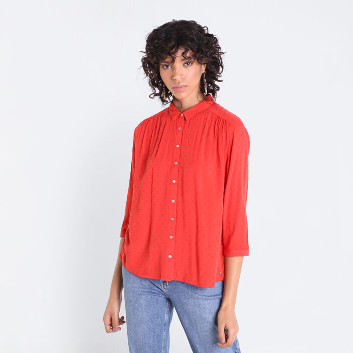 Chemise manches 3/4 rouge femme