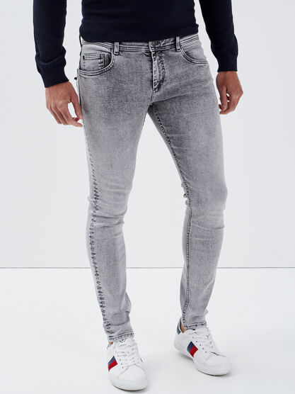 Jeans skinny effet used gris fonce homme