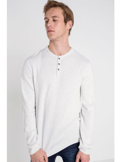 pull col arrondi homme boutonne blanc