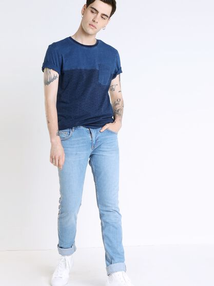 jeans slim homme bandes sport denim used