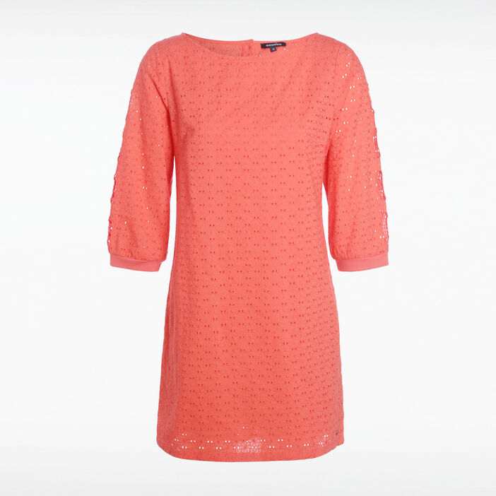 Robe broderie anglaise orange corail femme
