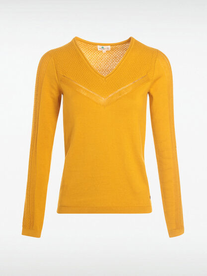 Pull manches longues ajoure jaune moutarde femme