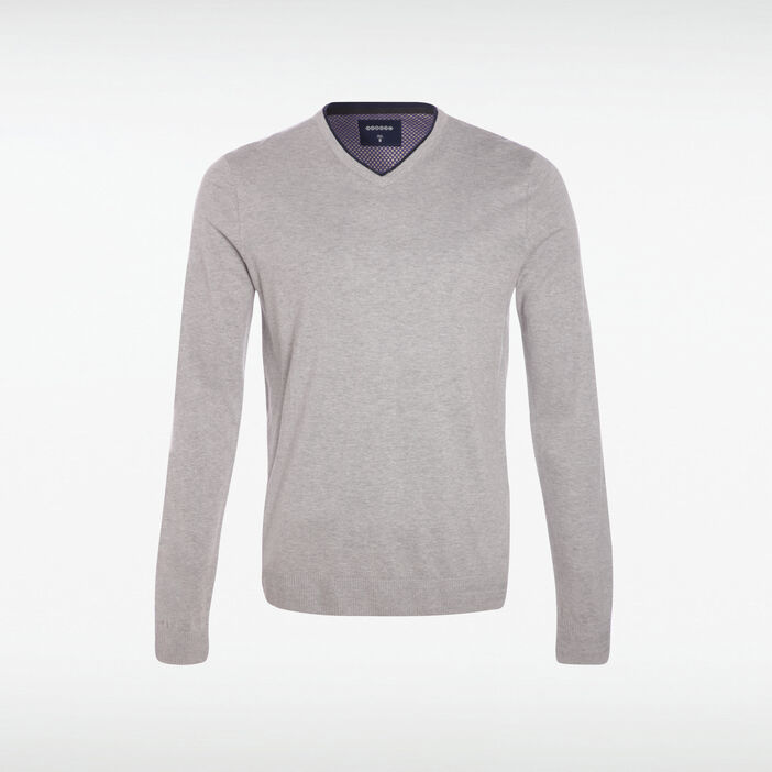 Pull manches longues col V gris clair homme