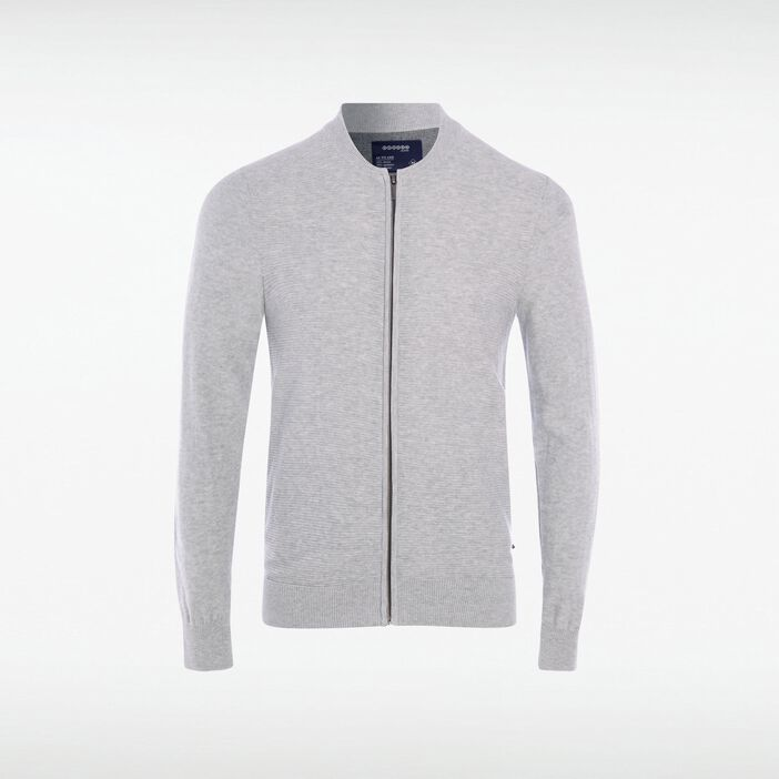 Gilet col arrondi homme fines rayures GRIS CLAIR