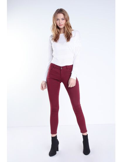 Pantalon skinny taille normale rouge fonce femme