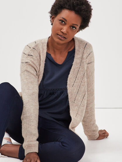 Cardigan manches longues beige femme