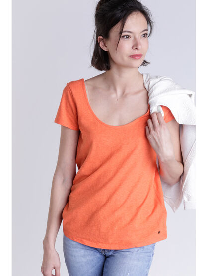 T shirt detail orange femme
