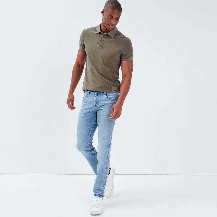 Jeans straight used denim bleach homme