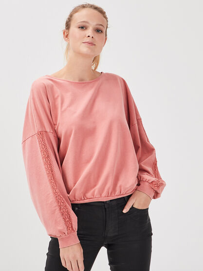 Sweat manches longues terracotta femme
