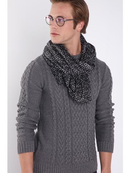 pull manches longues maille gris