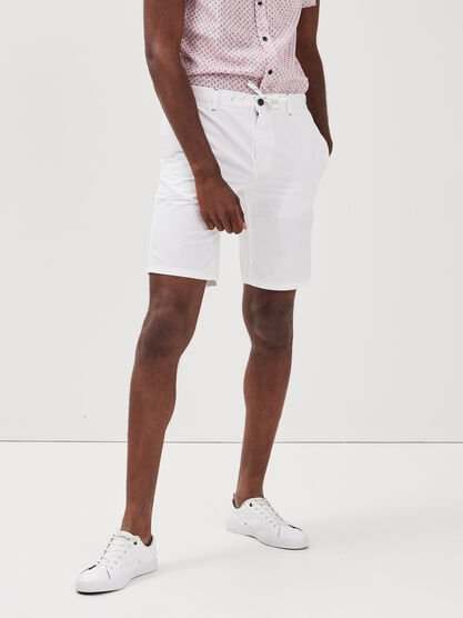 Short court a cordons rayes blanc homme