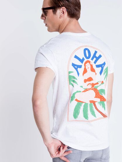 t shirt col rond homme motif aloha white