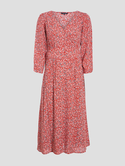 Robe longue evasee manches 34 rouge femme