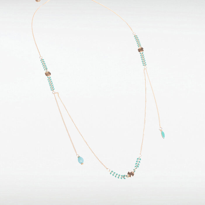 Collier ornements feuilles couleur or femme