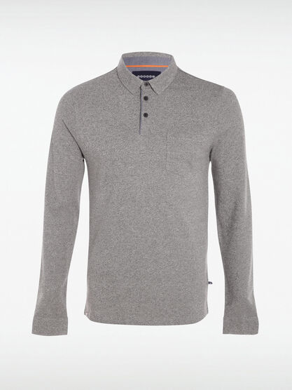 Polo manches longues a boutons gris homme