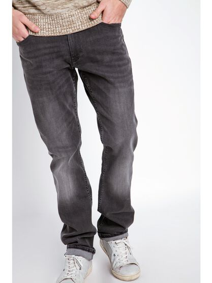 jeans homme straight effet used denim gris