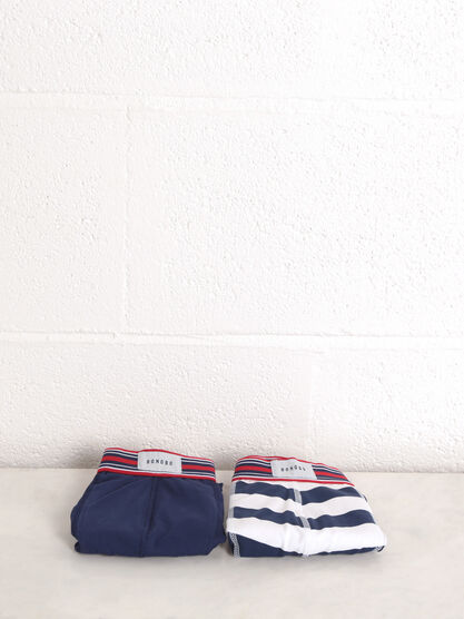 Lot 2 boxers taille elastiquee bleu marine homme