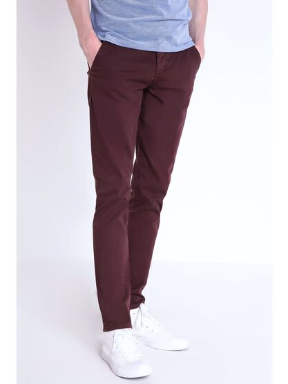 pantalon chino slim homme instinct bordeaux