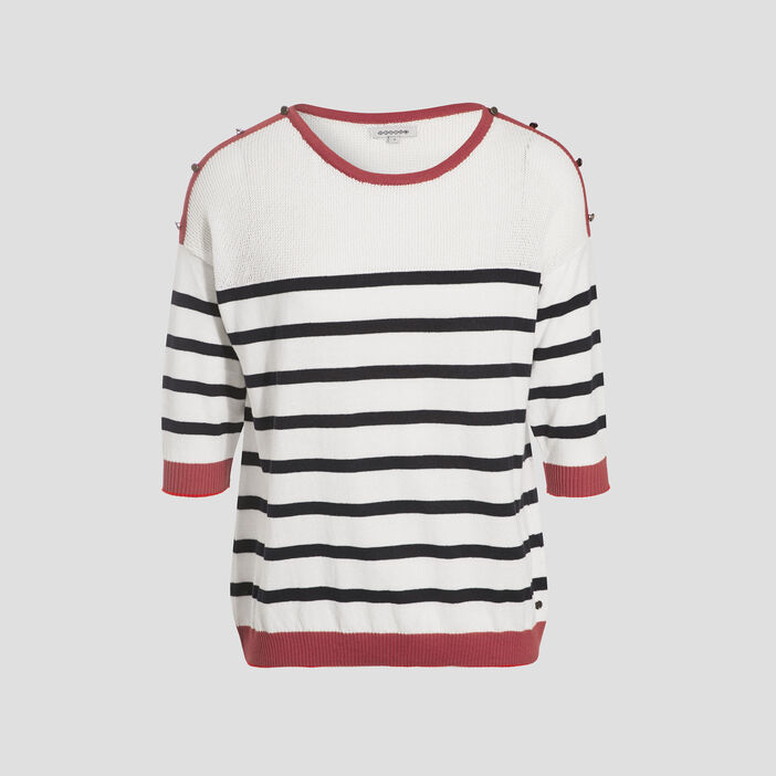 Pull manches 3/4 boutons ecru femme