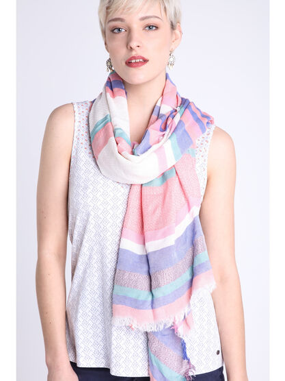 Foulard maille jacquard rose clair femme