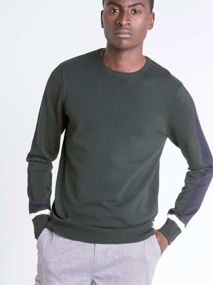 pull col rond homme lignes colorees vert fonce