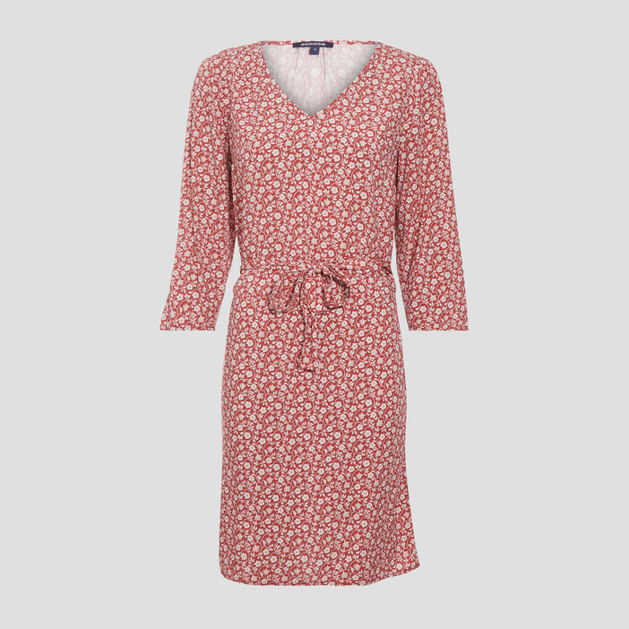 Robe droite manches 3/4 rouge clair femme