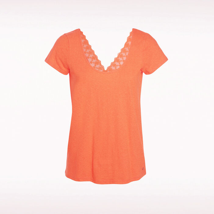 T-shirt détail orange femme