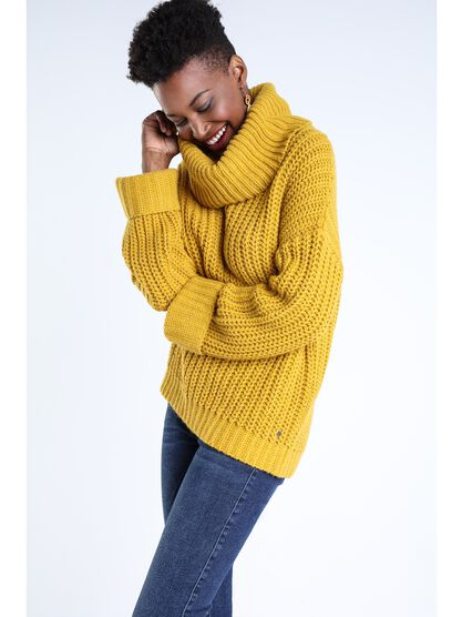 pull col cheminee femme jaune or