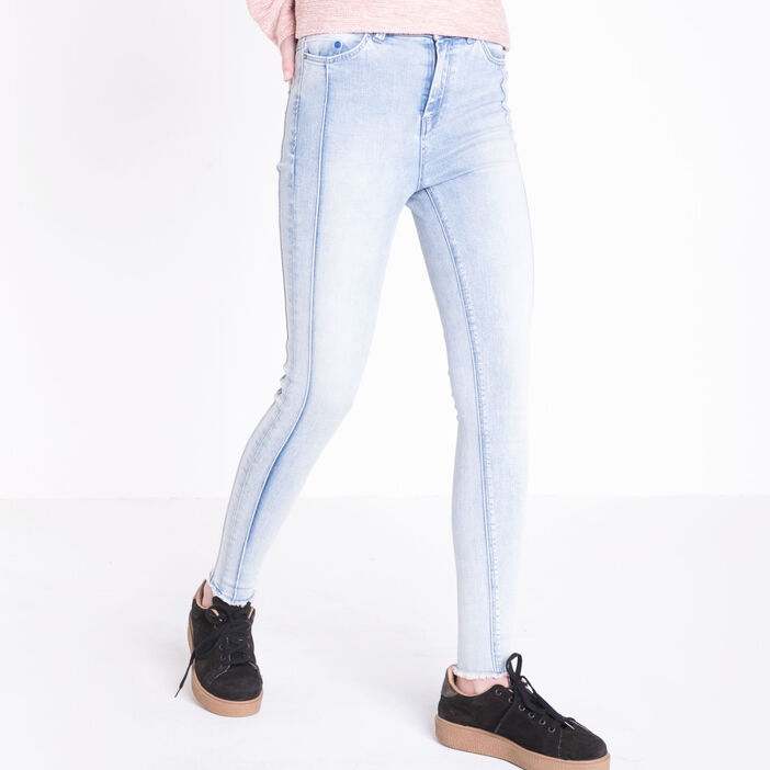 Jeans skinny taille haute coutures denim used femme