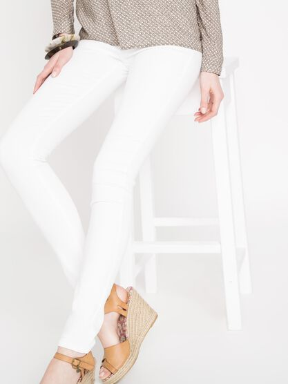 jeans jegging skinny femme taille haute blanc