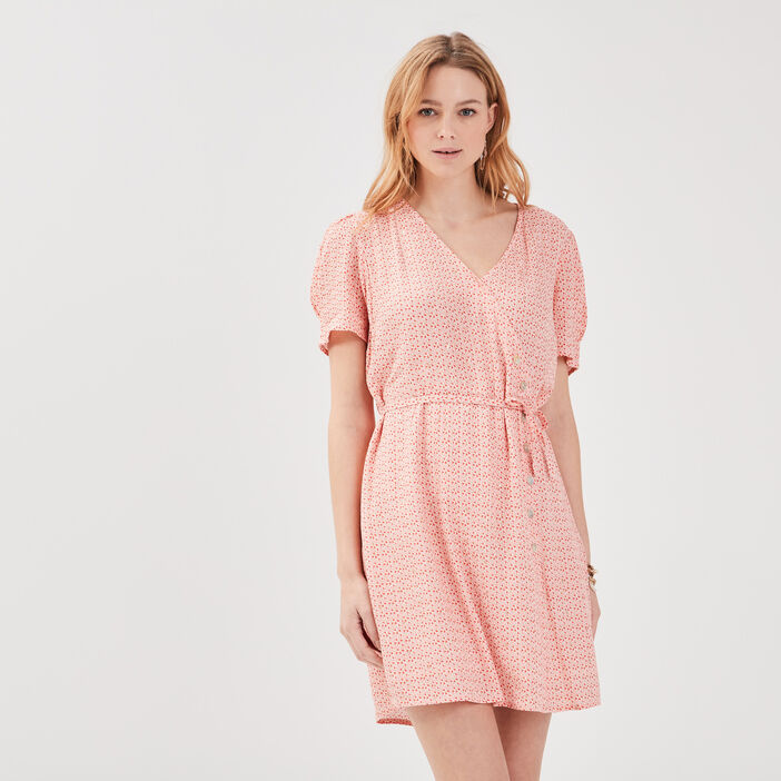 Robe effet portefeuille rose corail femme
