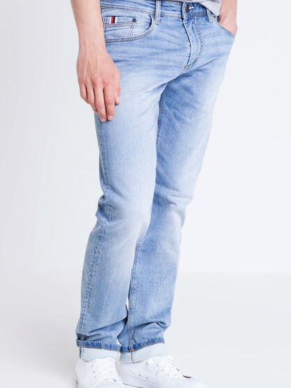 Jeans straight used L32 denim bleach homme