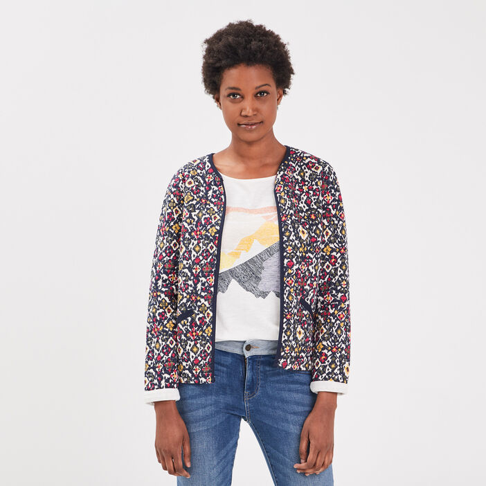 Cardigan manches longues multicolore femme